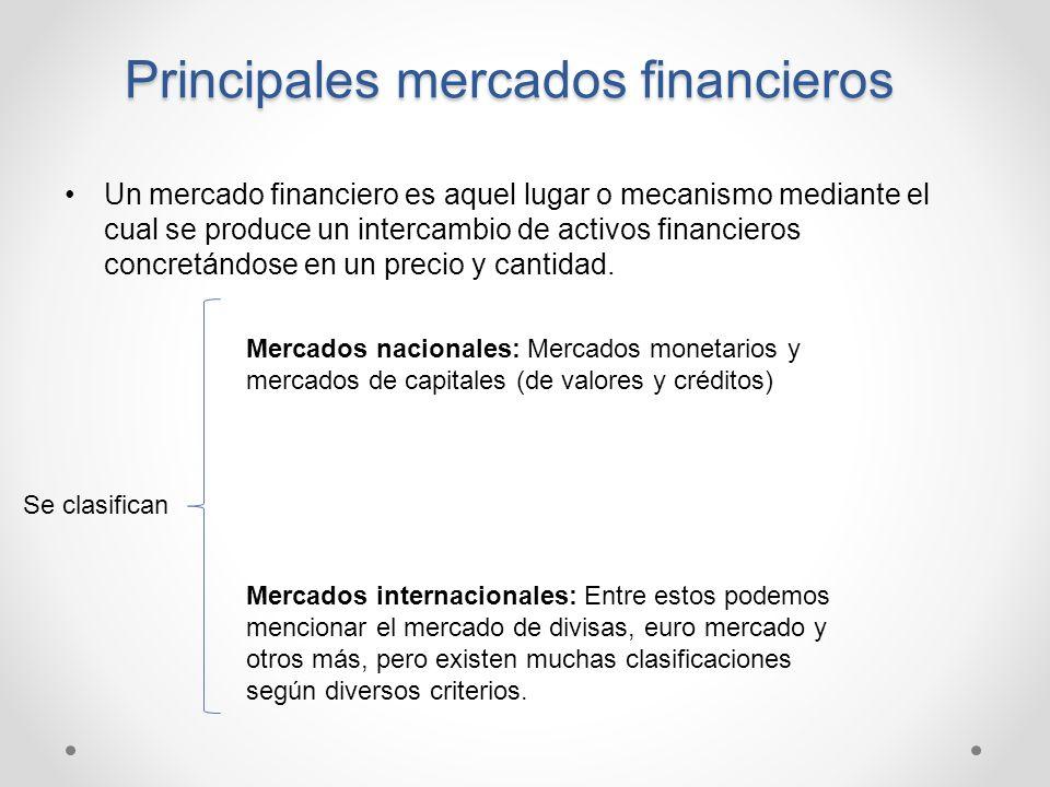 Principales mercados financieros Un mercado financiero es aquel lugar o mecanismo mediante el cual se produce un intercambio de activos financieros co