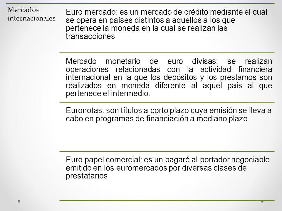 Mercados internacionales Euro mercado: es un mercado de crédito mediante el cual se opera en países distintos a aquellos a los que pertenece la moneda