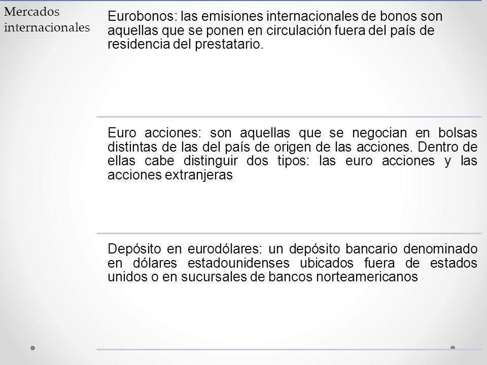 Mercados internacionales Eurobonos: las emisiones internacionales de bonos son aquellas que se ponen en circulación fuera del país de residencia del p