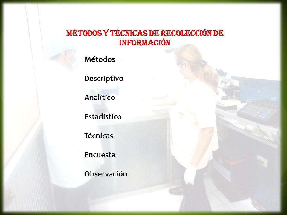 MÉTODOS Y TÉCNICAS DE RECOLECCIÓN DE INFORMACIÓN Métodos Descriptivo Analítico Estadístico Técnicas Encuesta Observación