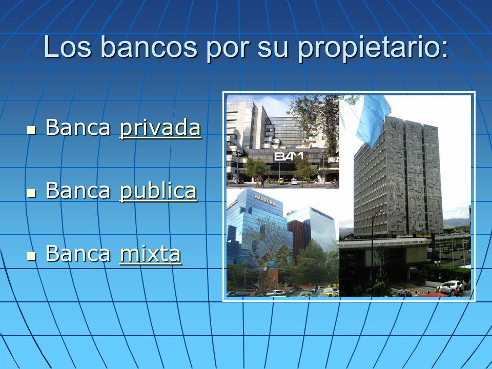 Los bancos por su propietario: Banca privada Banca privadaprivada Banca publica Banca publicapublica Banca mixta Banca mixtamixta