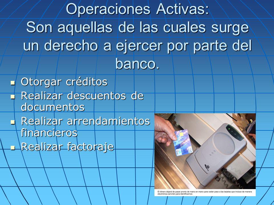 Operaciones Activas: Son aquellas de las cuales surge un derecho a ejercer por parte del banco. Otorgar créditos Otorgar créditos Realizar descuentos