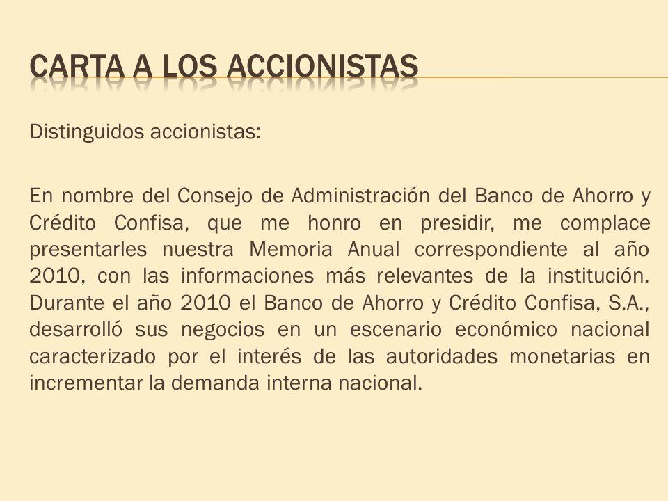 Distinguidos accionistas: En nombre del Consejo de Administración del Banco de Ahorro y Crédito Confisa, que me honro en presidir, me complace present