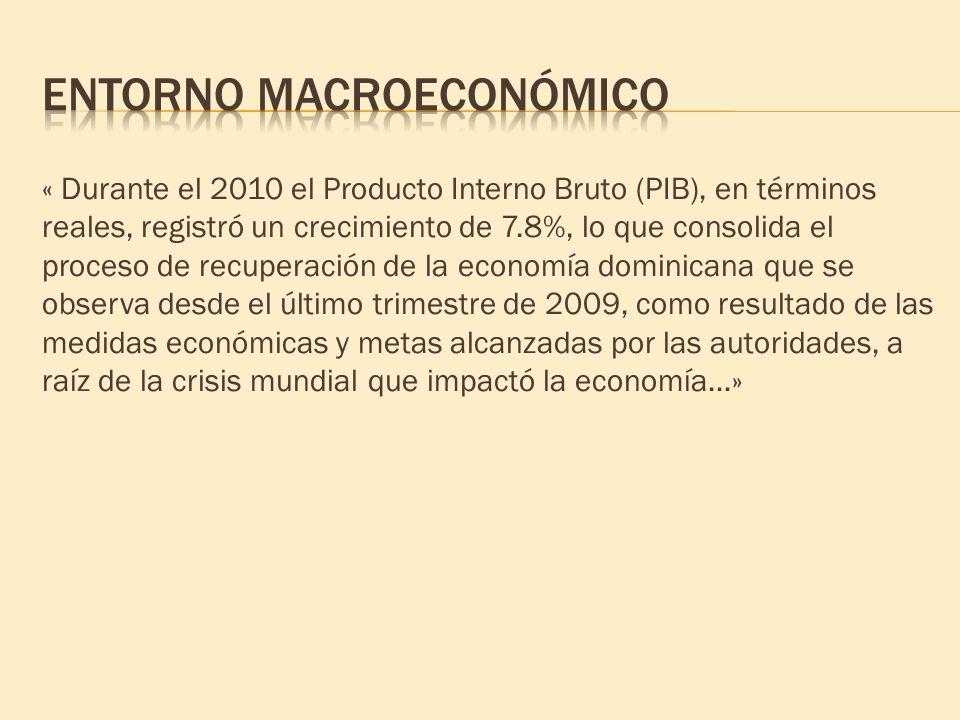 « Durante el 2010 el Producto Interno Bruto (PIB), en términos reales, registró un crecimiento de 7.8%, lo que consolida el proceso de recuperación de