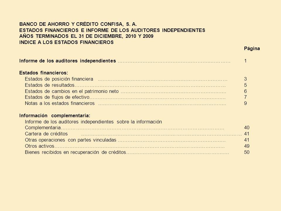 BANCO DE AHORRO Y CRÉDITO CONFISA, S. A. ESTADOS FINANCIEROS E INFORME DE LOS AUDITORES INDEPENDIENTES AÑOS TERMINADOS EL 31 DE DICIEMBRE, 2010 Y 2009