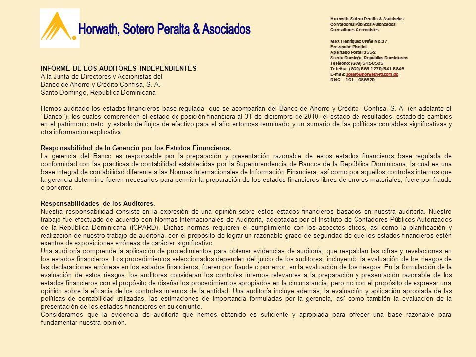 INFORME DE LOS AUDITORES INDEPENDIENTES A la Junta de Directores y Accionistas del Banco de Ahorro y Crédito Confisa, S. A. Santo Domingo, República D