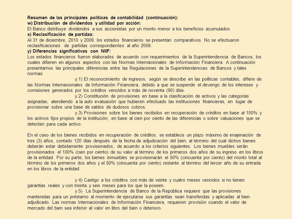 Resumen de las principales políticas de contabilidad (continuación): w) Distribución de dividendos y utilidad por acción: El Banco distribuye dividend