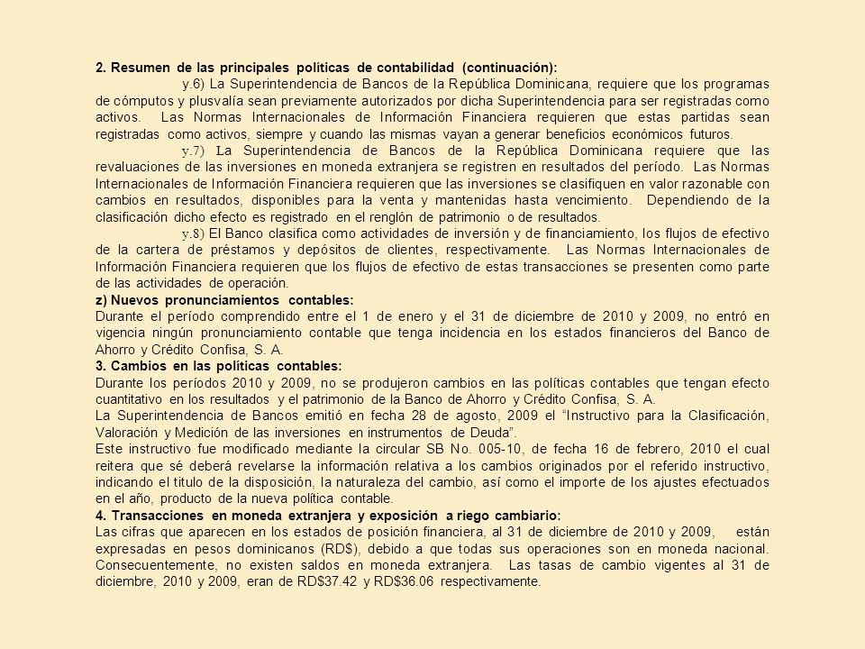 2. Resumen de las principales políticas de contabilidad (continuación): y.6) La Superintendencia de Bancos de la República Dominicana, requiere que lo