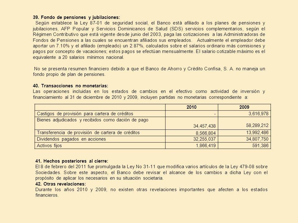 39. Fondo de pensiones y jubilaciones: Según establece la Ley 87 01 de seguridad social, el Banco está afiliado a los planes de pensiones y jubilacion