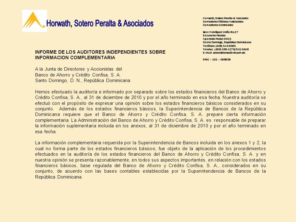 Horwath, Sotero Peralta & Asociados Contadores Públicos Autorizados Consultores Gerenciales Max Henríquez Ureña No.37 Ensanche Piantini Apartado Posta