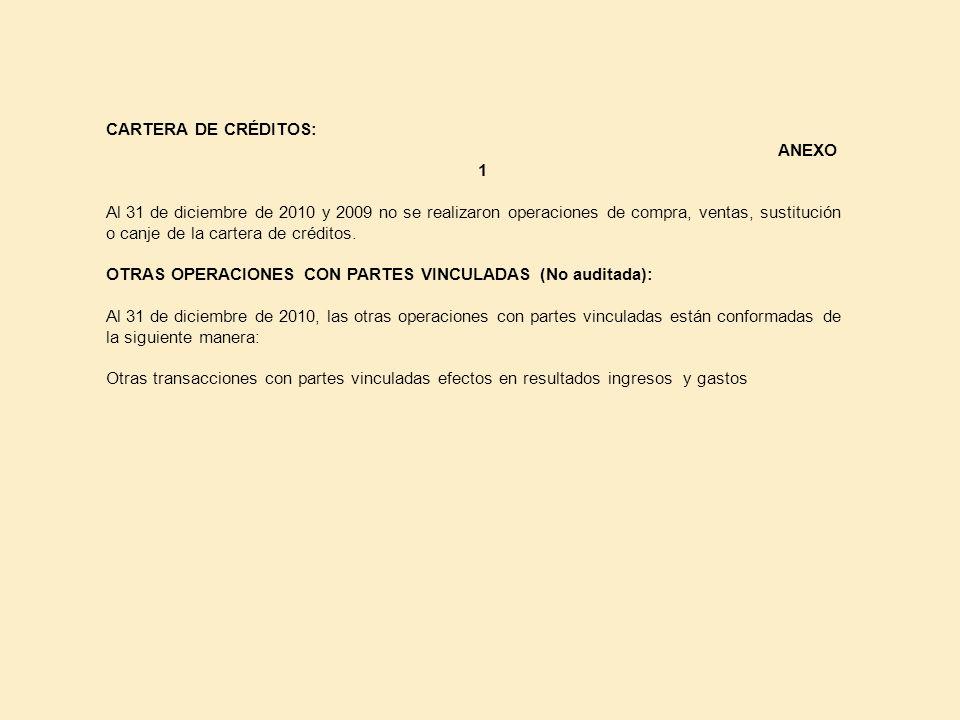 CARTERA DE CRÉDITOS: ANEXO 1 Al 31 de diciembre de 2010 y 2009 no se realizaron operaciones de compra, ventas, sustitución o canje de la cartera de cr