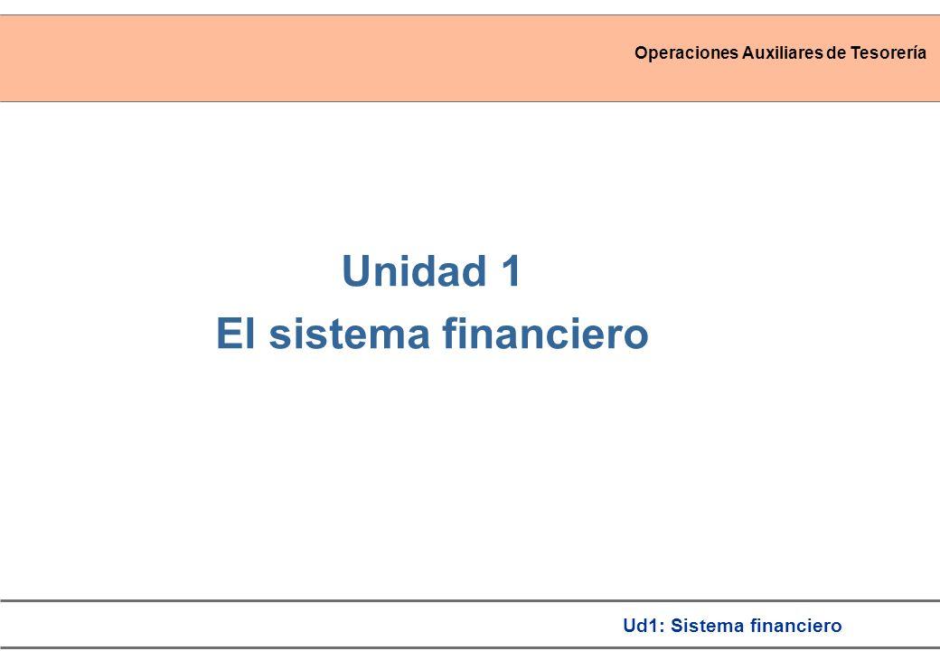 Operaciones Auxiliares de Tesorería Ud1: Sistema financiero Unidad 1 El sistema financiero