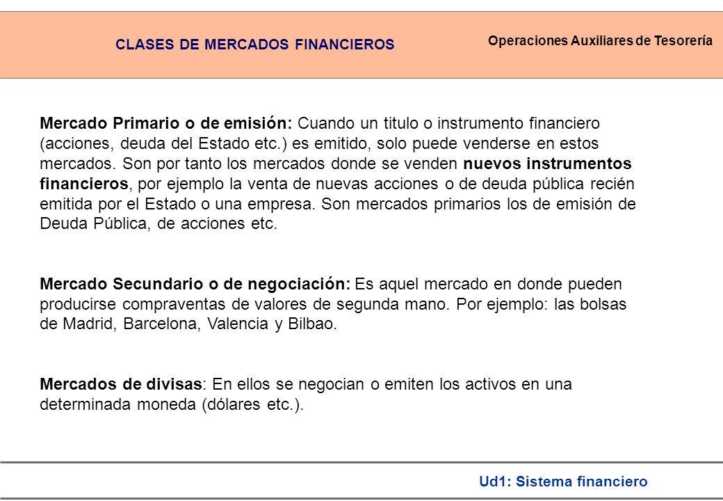 Operaciones Auxiliares de Tesorería Ud1: Sistema financiero Mercado Primario o de emisión: Cuando un titulo o instrumento financiero (acciones, deuda