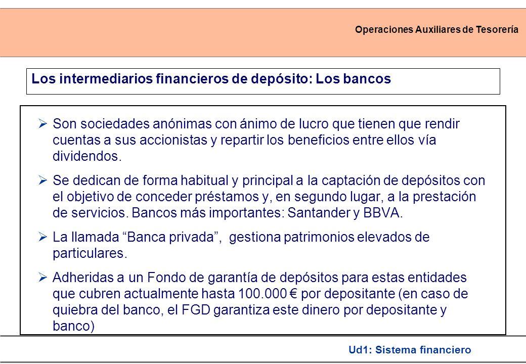 Operaciones Auxiliares de Tesorería Ud1: Sistema financiero Los intermediarios financieros de depósito: Los bancos Son sociedades anónimas con ánimo de lucro que tienen que rendir cuentas a sus accionistas y repartir los beneficios entre ellos vía dividendos.