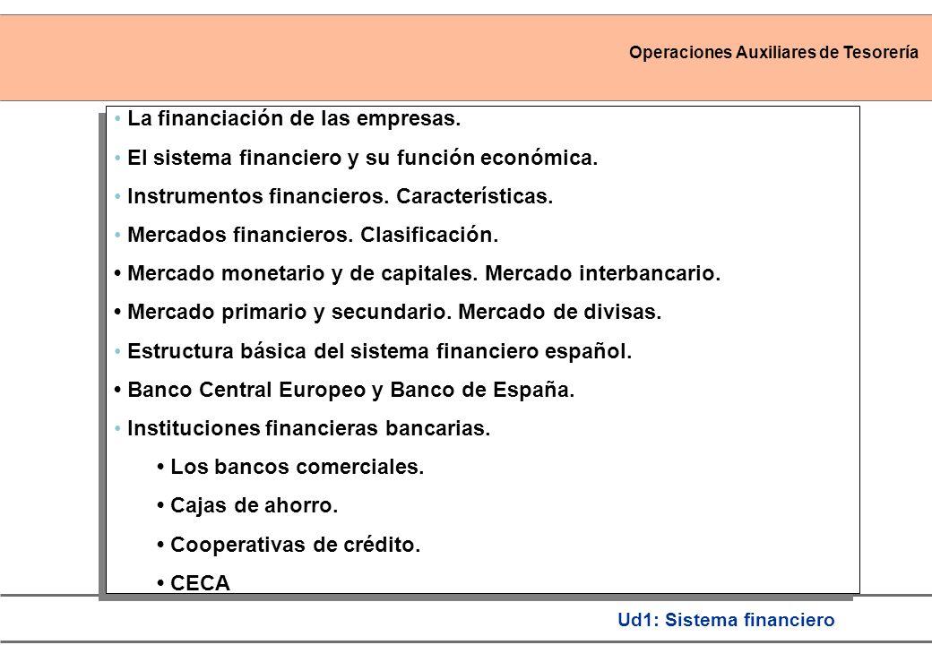 Operaciones Auxiliares de Tesorería Ud1: Sistema financiero La financiación de las empresas. El sistema financiero y su función económica. Instrumento