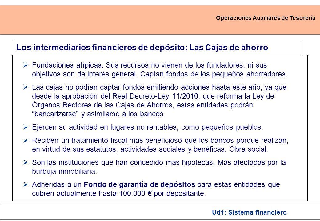 Operaciones Auxiliares de Tesorería Ud1: Sistema financiero Los intermediarios financieros de depósito: Las Cajas de ahorro Fundaciones atípicas. Sus