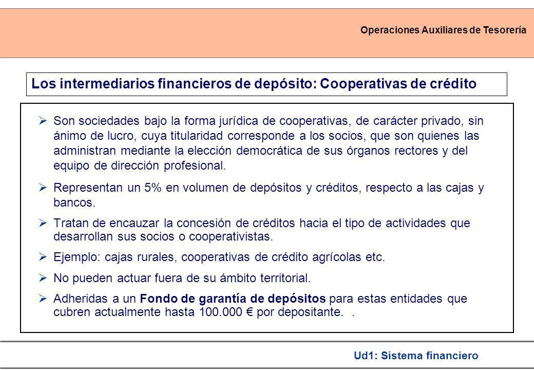 Operaciones Auxiliares de Tesorería Ud1: Sistema financiero Los intermediarios financieros de depósito: Cooperativas de crédito Son sociedades bajo la