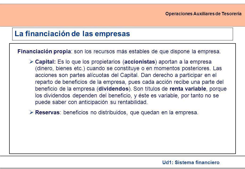 Operaciones Auxiliares de Tesorería Ud1: Sistema financiero La financiación de las empresas Financiación propia: son los recursos más estables de que
