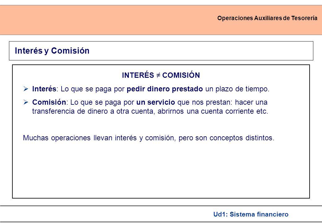 Operaciones Auxiliares de Tesorería Ud1: Sistema financiero INTERÉS COMISIÓN Interés: Lo que se paga por pedir dinero prestado un plazo de tiempo. Com