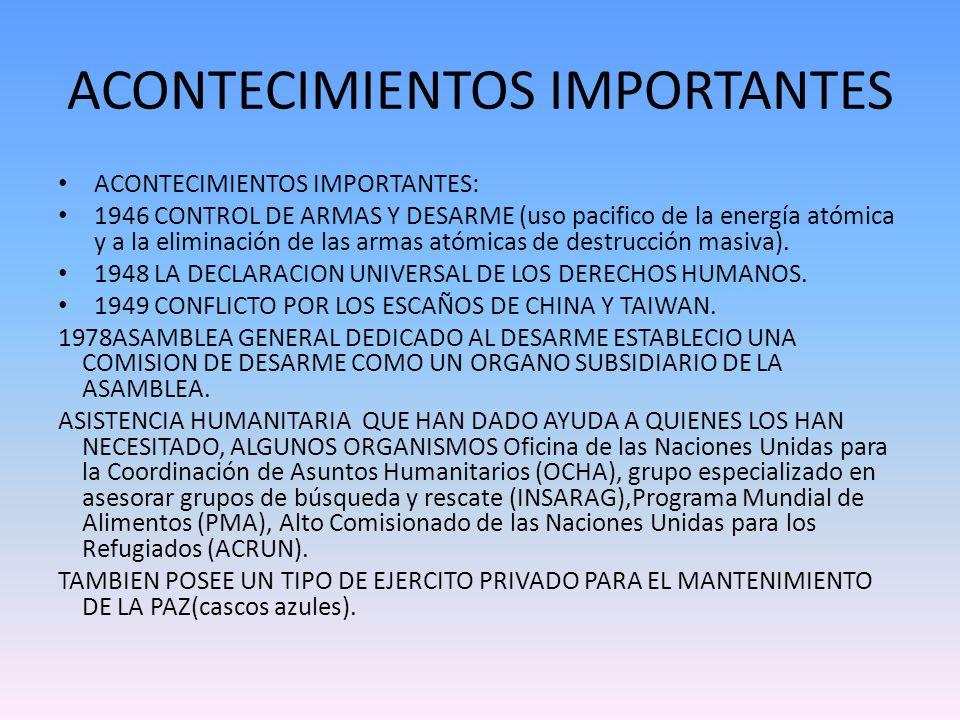 ACONTECIMIENTOS IMPORTANTES ACONTECIMIENTOS IMPORTANTES: 1946 CONTROL DE ARMAS Y DESARME (uso pacifico de la energía atómica y a la eliminación de las