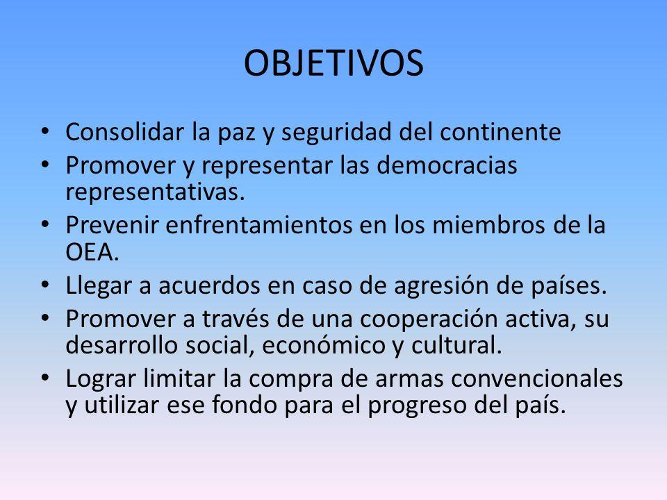 OBJETIVOS Consolidar la paz y seguridad del continente Promover y representar las democracias representativas. Prevenir enfrentamientos en los miembro