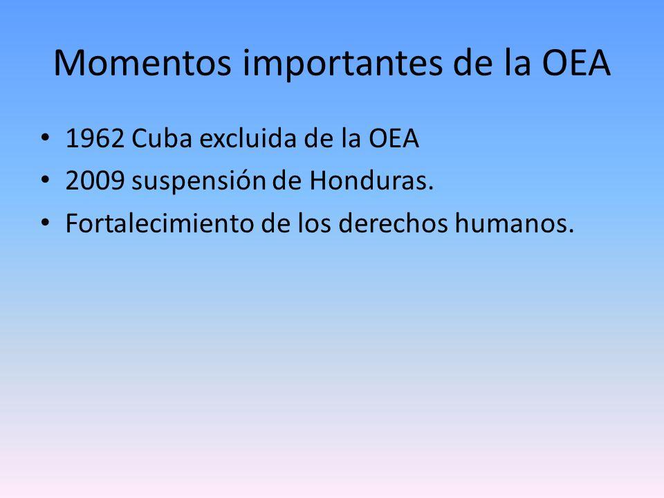 Momentos importantes de la OEA 1962 Cuba excluida de la OEA 2009 suspensión de Honduras. Fortalecimiento de los derechos humanos.
