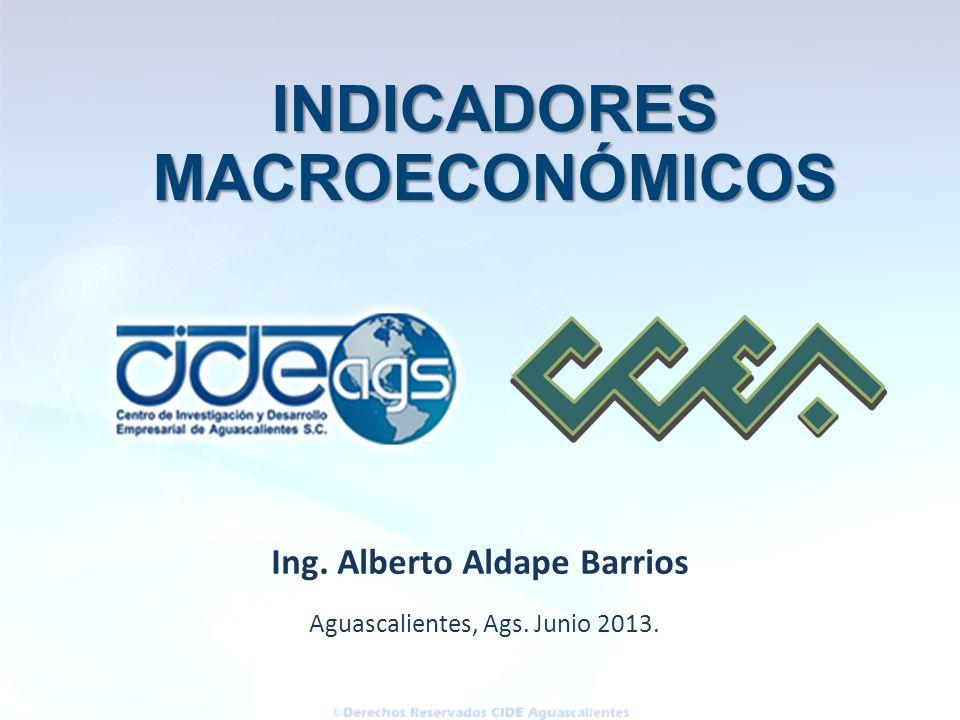 Aguascalientes, Ags. Junio 2013. Ing. Alberto Aldape Barrios INDICADORES INDICADORESMACROECONÓMICOS
