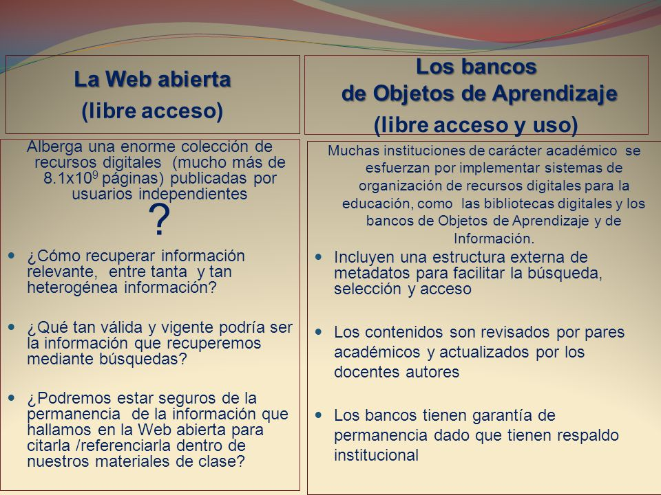 Clasificación material de aprendizaje http://www.merlot.org/merlot/materials.htm?sort.property=overallRating Consultado mayo 22 de 2011 CategoríasTipo de material Academic Support Services (2.354) Arts (1.181) Business (3.672) Education (3.665) Humanities (4.595) Mathematics and Statistics (2.275) Science and Technology (10.841) Agriculture and Environmental Sciences (313) Astronomy (334) Biology (2.185) Chemistry (786) Communication Sciences and Disorders (171) Computer Science (581) Engineering (799) General Science (447) Geoscience (399) Health Sciences (1.877) Information Technology (1.051) Nanotechnology (191) Physics (1.918) Social Sciences (3.182) Workforce Development (880) Tutorial (3.112) Collection (3.249) Animation (1.141) Learning Object Repository (577) Assignment (557) Case Study (602) Simulation (2.950) Quiz/Test (854) Social Networking Tool (56) Reference Material (7.651) Presentation (2.770) Development Tool (120) Open Textbook (1.612) Assessment Tool (76) Online Course (655) Open Journal-Article (500) Drill and Practice (1.063) Workshop and Training Material (305)