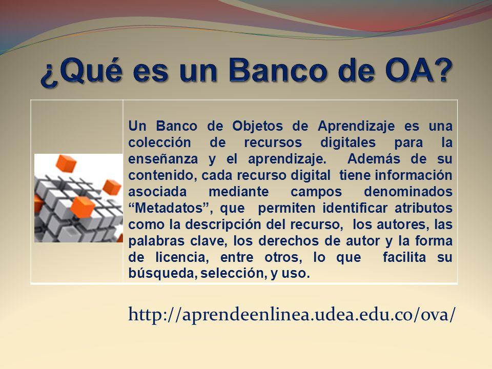 http://aprendeenlinea.udea.edu.co/ova/ Un Banco de Objetos de Aprendizaje es una colección de recursos digitales para la enseñanza y el aprendizaje. A