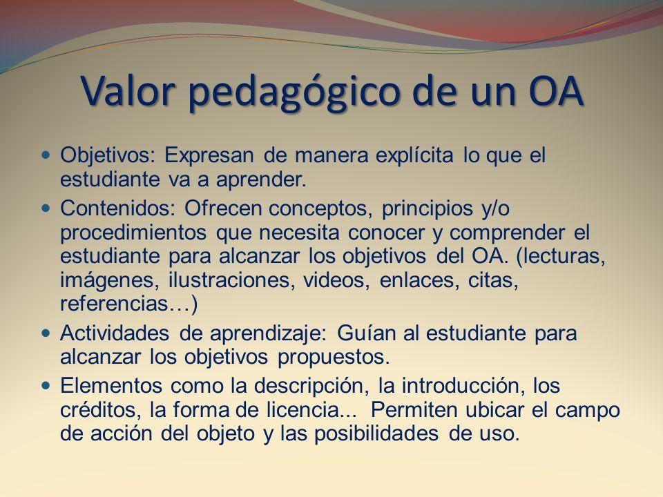Valor pedagógico de un OA Objetivos: Expresan de manera explícita lo que el estudiante va a aprender. Contenidos: Ofrecen conceptos, principios y/o pr