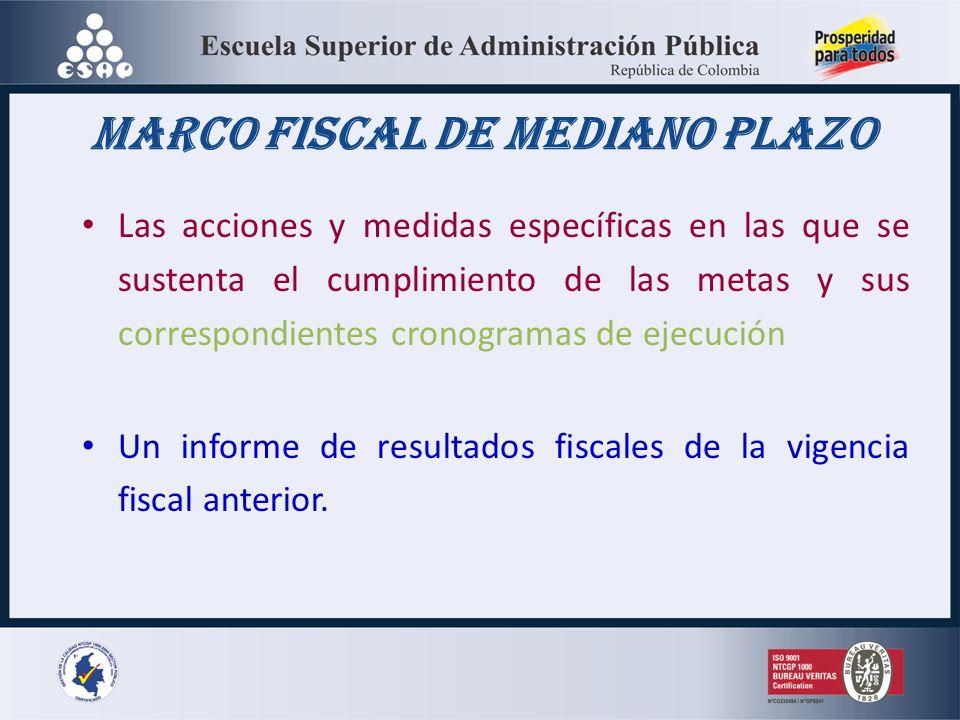 Marco fiscal de mediano plazo Las acciones y medidas específicas en las que se sustenta el cumplimiento de las metas y sus correspondientes cronogramas de ejecución Un informe de resultados fiscales de la vigencia fiscal anterior.
