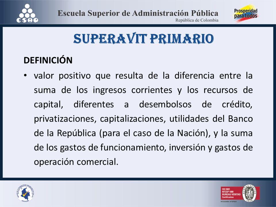 SUPERAVIT PRIMARIO DEFINICIÓN valor positivo que resulta de la diferencia entre la suma de los ingresos corrientes y los recursos de capital, diferent