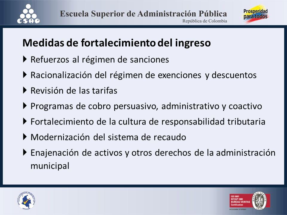 Medidas de fortalecimiento del ingreso Refuerzos al régimen de sanciones Racionalización del régimen de exenciones y descuentos Revisión de las tarifa