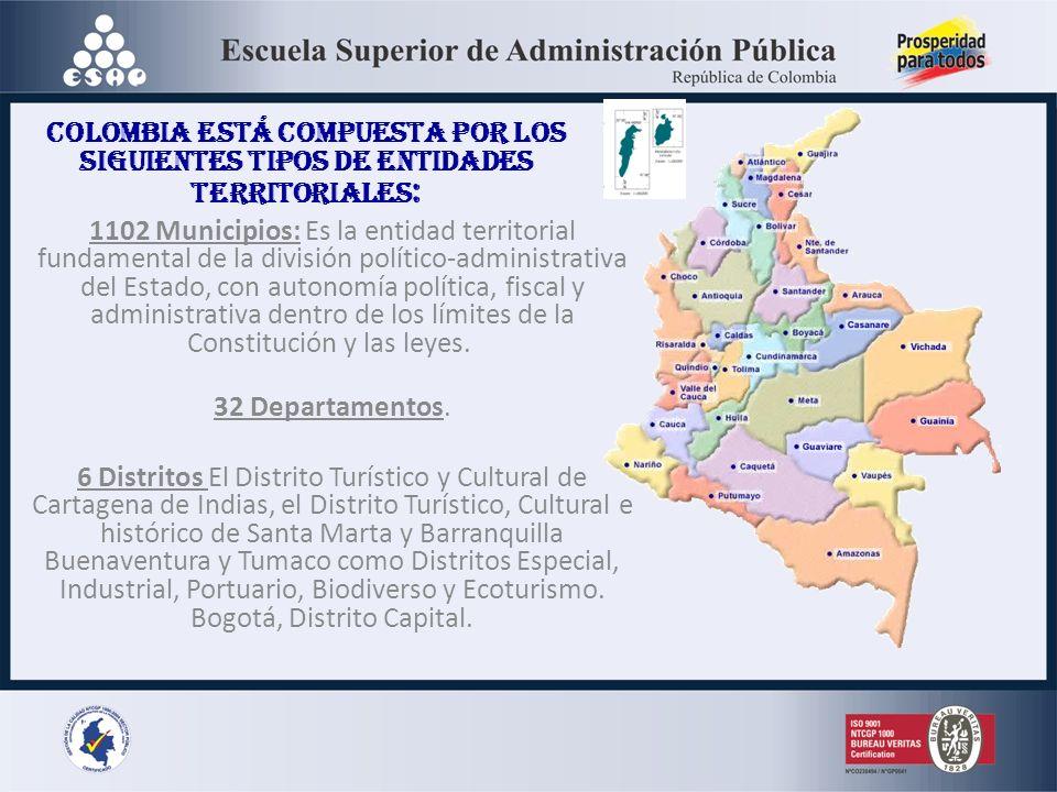Colombia está compuesta por los siguientes tipos de entidades territoriales : 1102 Municipios: Es la entidad territorial fundamental de la división po