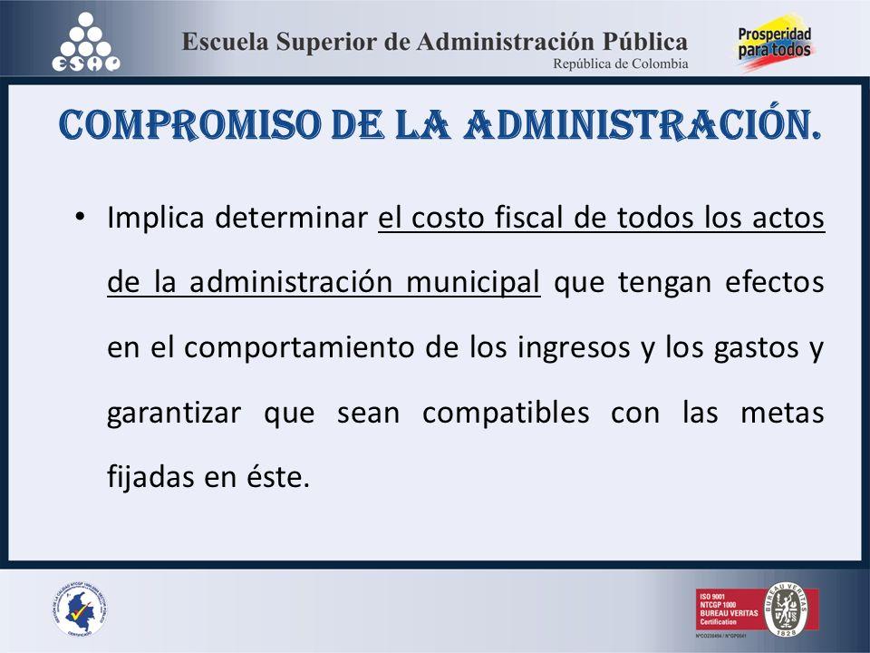 compromiso de la administración. Implica determinar el costo fiscal de todos los actos de la administración municipal que tengan efectos en el comport
