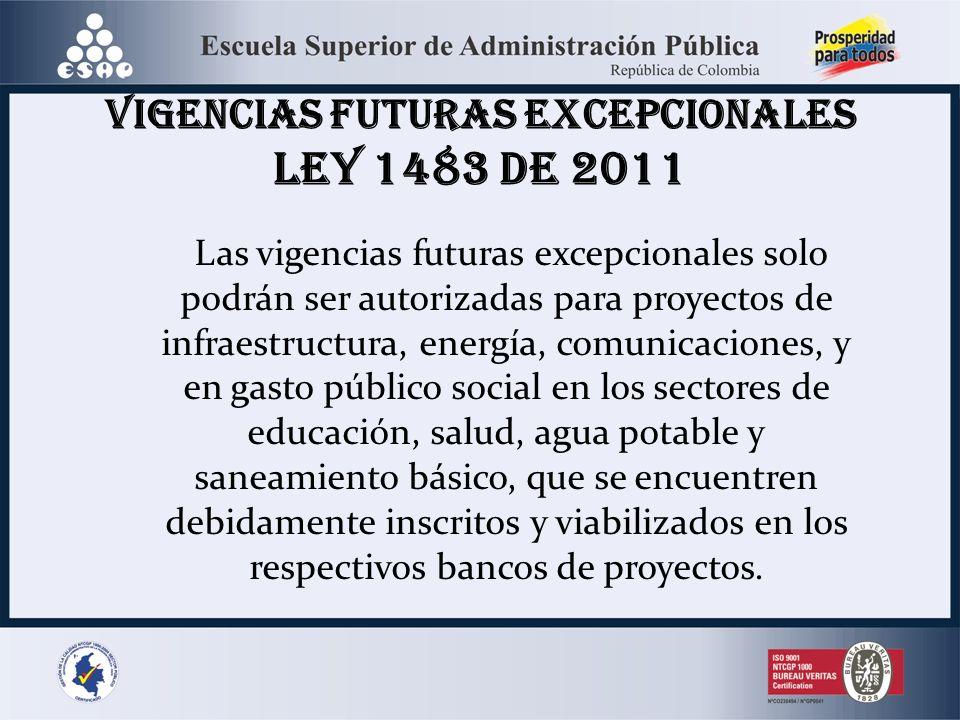 Las vigencias futuras excepcionales solo podrán ser autorizadas para proyectos de infraestructura, energía, comunicaciones, y en gasto público social