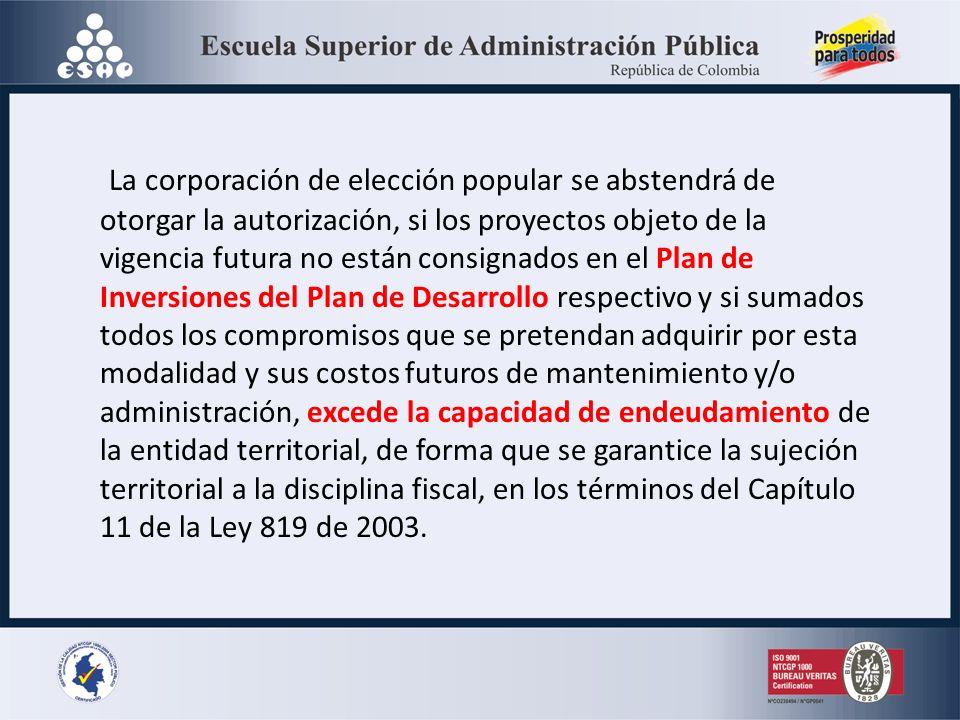 La corporación de elección popular se abstendrá de otorgar la autorización, si los proyectos objeto de la vigencia futura no están consignados en el Plan de Inversiones del Plan de Desarrollo respectivo y si sumados todos los compromisos que se pretendan adquirir por esta modalidad y sus costos futuros de mantenimiento y/o administración, excede la capacidad de endeudamiento de la entidad territorial, de forma que se garantice la sujeción territorial a la disciplina fiscal, en los términos del Capítulo 11 de la Ley 819 de 2003.