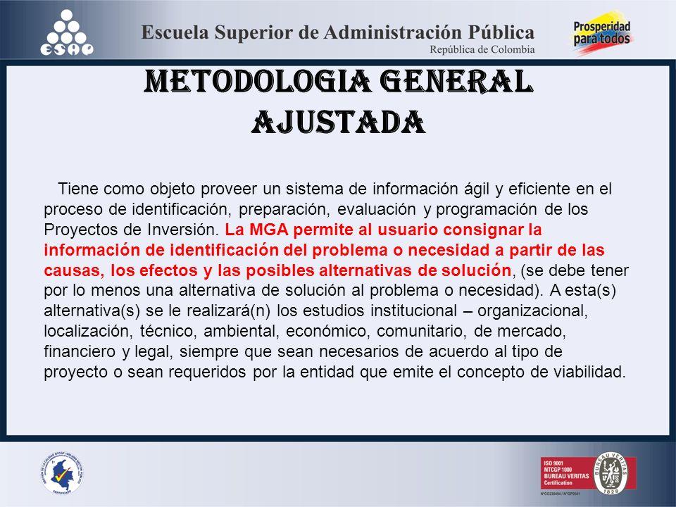 METODOLOGIA GENERAL AJUSTADA Tiene como objeto proveer un sistema de información ágil y eficiente en el proceso de identificación, preparación, evalua