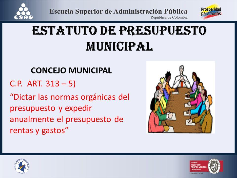 CONCEJO MUNICIPAL C.P. ART. 313 – 5) Dictar las normas orgánicas del presupuesto y expedir anualmente el presupuesto de rentas y gastos