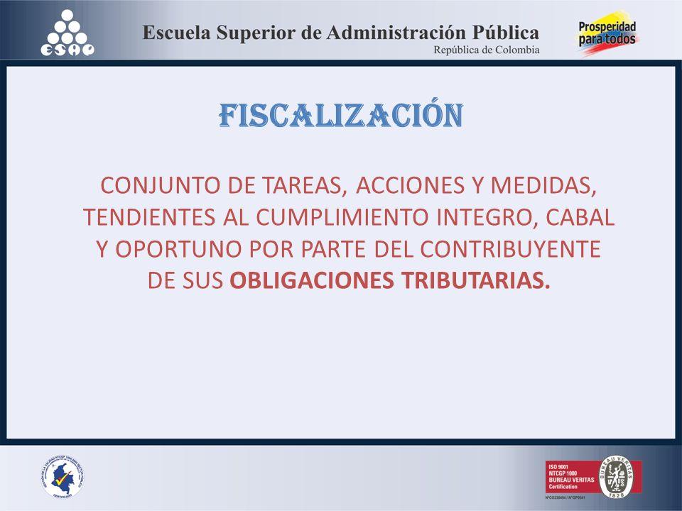 FISCALIZACIÓN CONJUNTO DE TAREAS, ACCIONES Y MEDIDAS, TENDIENTES AL CUMPLIMIENTO INTEGRO, CABAL Y OPORTUNO POR PARTE DEL CONTRIBUYENTE DE SUS OBLIGACIONES TRIBUTARIAS.