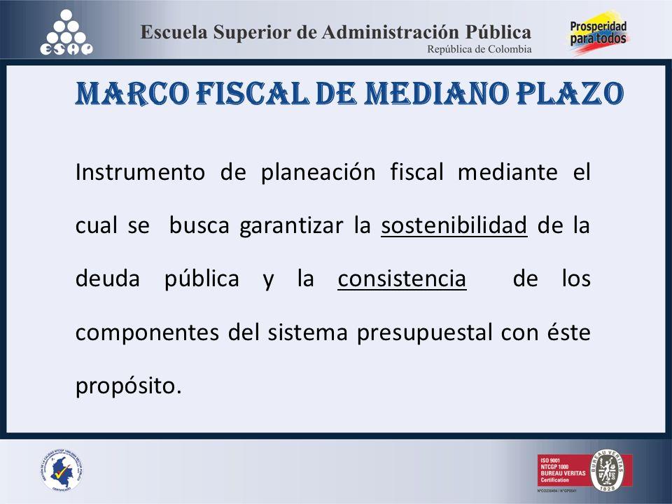 Marco fiscal de mediano plazo Instrumento de planeación fiscal mediante el cual se busca garantizar la sostenibilidad de la deuda pública y la consistencia de los componentes del sistema presupuestal con éste propósito.