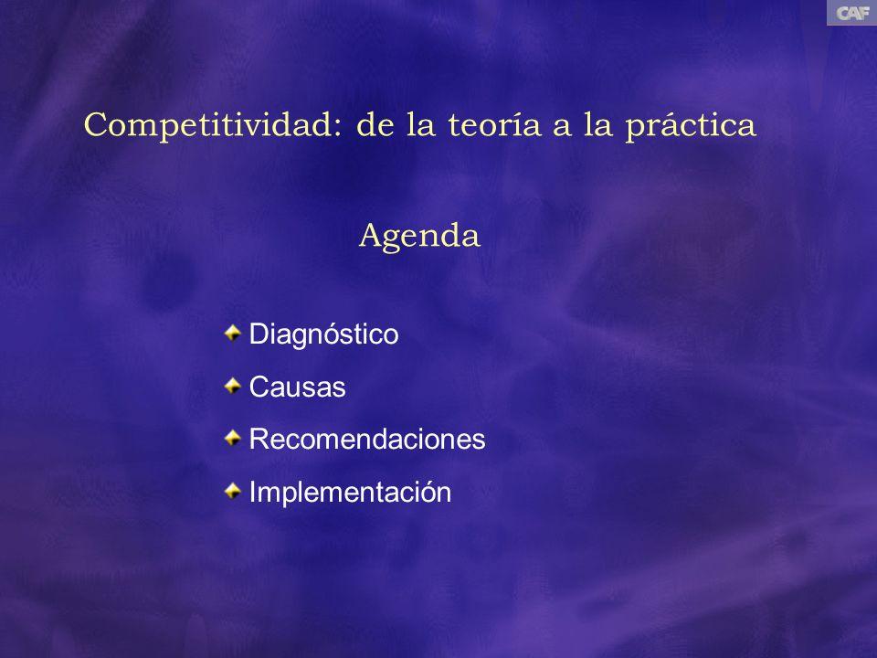 Competitividad: de la teoría a la práctica Agenda Diagnóstico Causas Recomendaciones Implementación