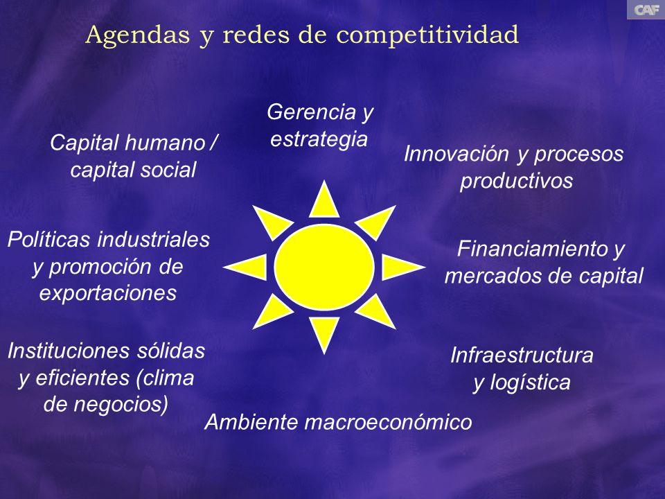 Ambiente macroeconómico Instituciones sólidas y eficientes (clima de negocios) Infraestructura y logística Financiamiento y mercados de capital Políti
