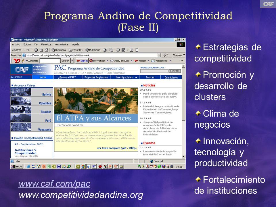 Programa Andino de Competitividad (Fase II) www.caf.com/pac www.competitividadandina.org Estrategias de competitividad Promoción y desarrollo de clust