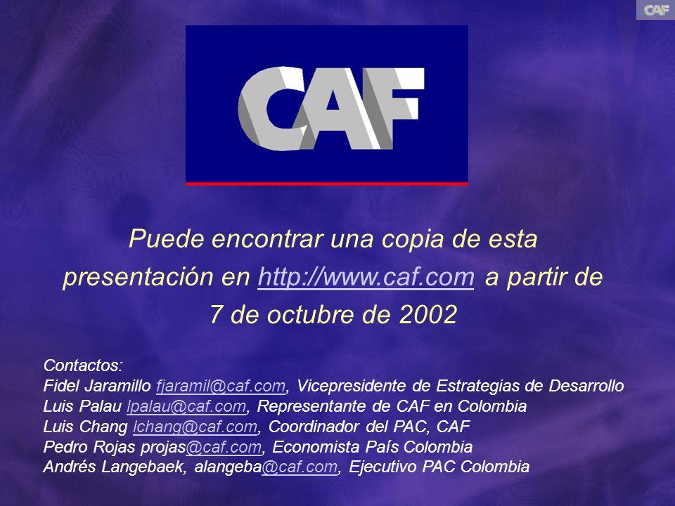 Puede encontrar una copia de esta presentación en http://www.caf.com a partir de 7 de octubre de 2002http://www.caf.com Contactos: Fidel Jaramillo fja