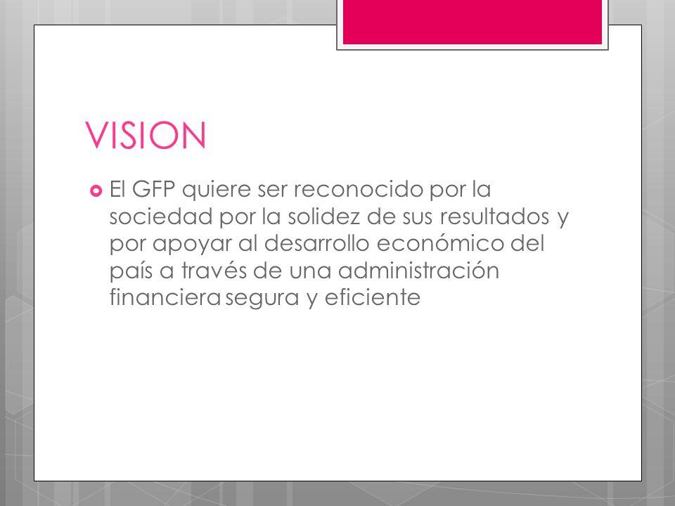 VISION El GFP quiere ser reconocido por la sociedad por la solidez de sus resultados y por apoyar al desarrollo económico del país a través de una administración financiera segura y eficiente