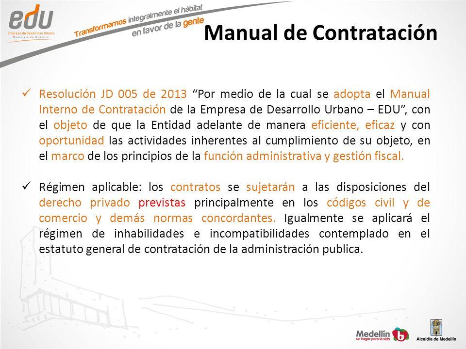 Manual de Contratación Resolución JD 005 de 2013 Por medio de la cual se adopta el Manual Interno de Contratación de la Empresa de Desarrollo Urbano –