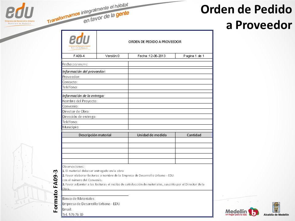 Orden de Pedido a Proveedor Formato FA09-3
