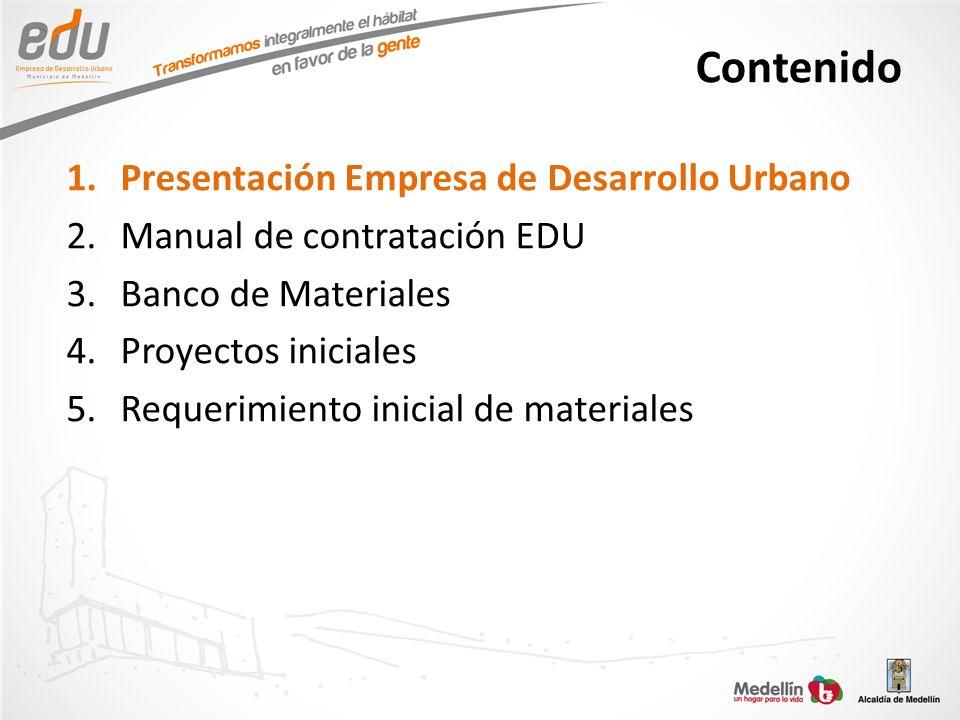 Contenido 1.Presentación Empresa de Desarrollo Urbano 2.Manual de contratación EDU 3.Banco de Materiales 4.Proyectos iniciales 5.Requerimiento inicial