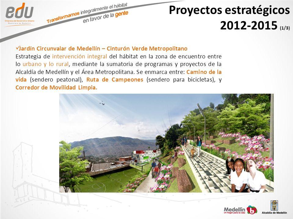 Proyectos estratégicos 2012-2015 (1/3) Jardín Circunvalar de Medellín – Cinturón Verde Metropolitano Estrategia de intervención integral del hábitat e